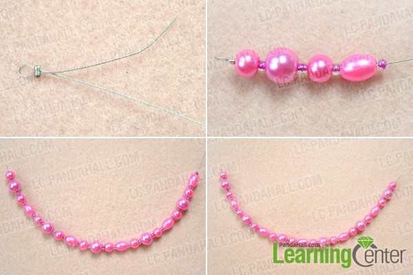 Make the first bead strand for double pearl necklace DIY