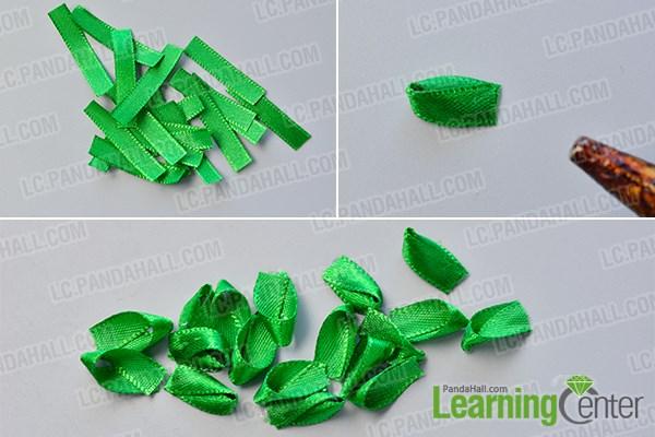 Make several green ribbon petals