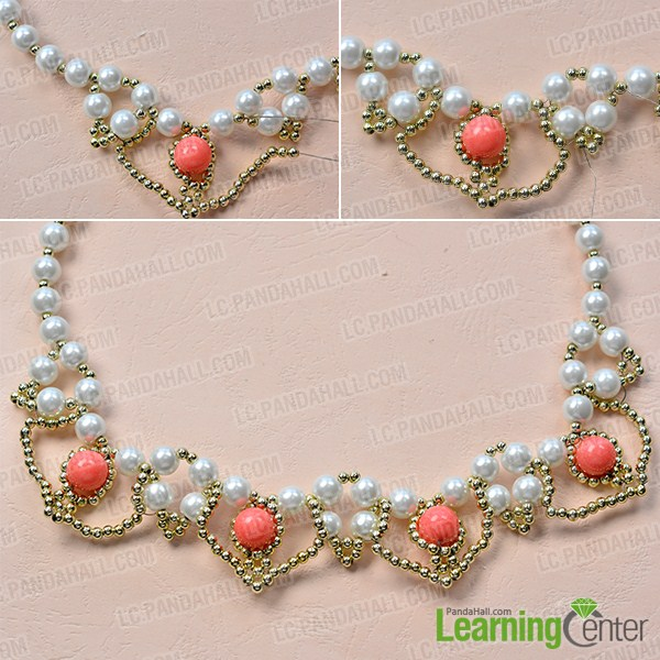 make the rest part of the homemade white pearl bead necklace