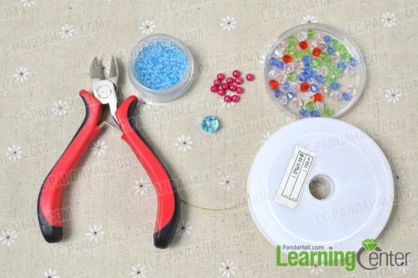 materials needed in makign a beaded flower bracelet