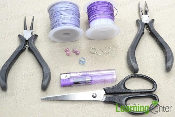 Necessities for purple macramé earrings pattern: