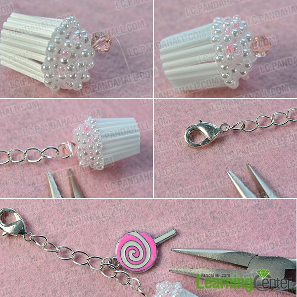 make the rest part of the bead cupcake keychain