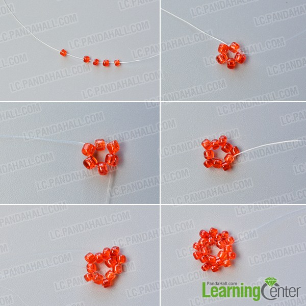 make the first part of the red seed beaded stitch starfish earrings