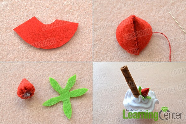 make the rest part of the felt strawberry ice cream craft