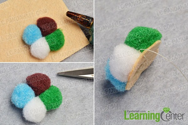 make the first part of the colorful pom pom ball flower stud earrings