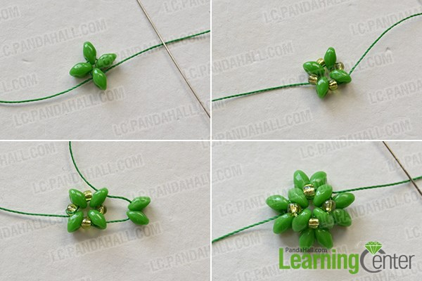 Make the first part of the green seed beads bracelet