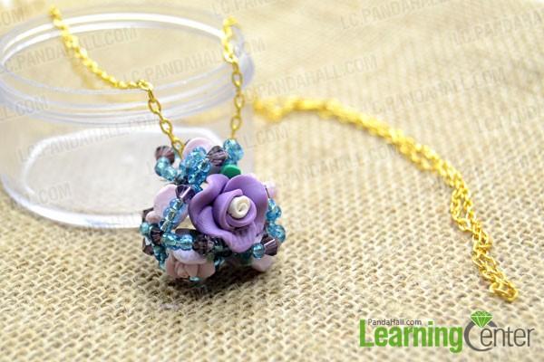 finished flower cluster pendant necklace