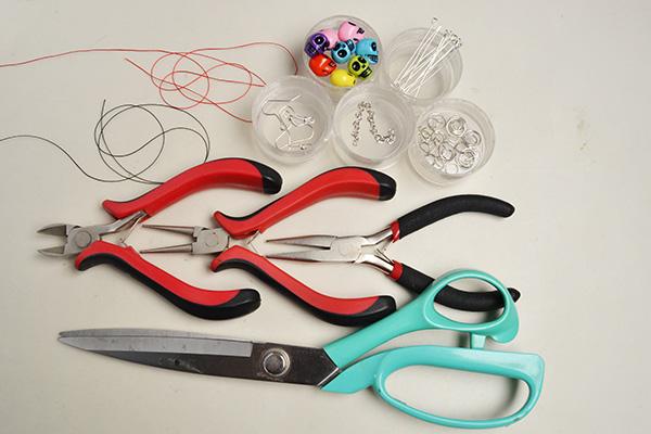 supplies in DIY the Halloween skull bead drop earrings with tassels