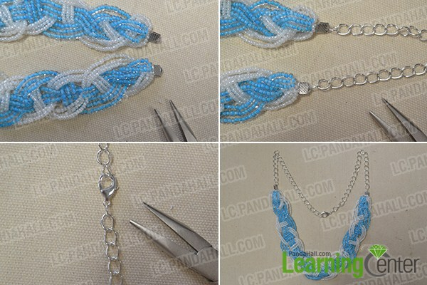 add twist chain, cord tips and lobster clasp