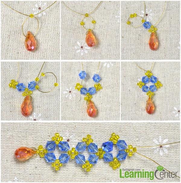 start beading the main part of the long beaded crystal earrings