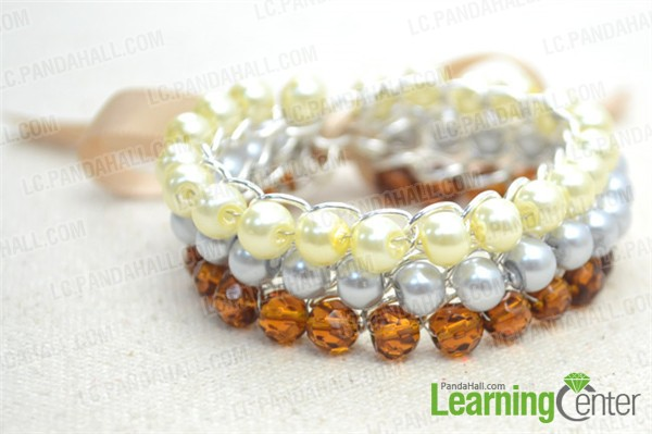 finish the 3-strand pearl and ribbon bracelet