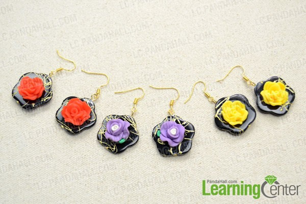 finished One-minute polymer clay flower earrings Craft