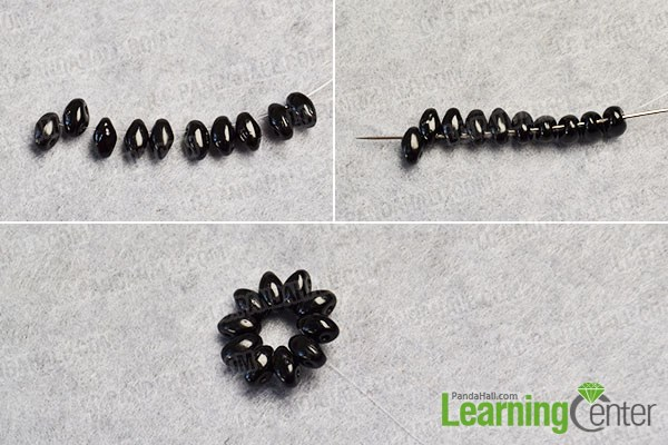 Make a black beaded flower pattern