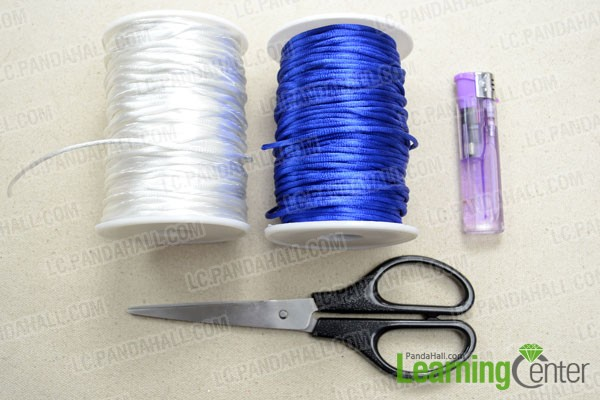 Supplies needed to macrame the bracelet