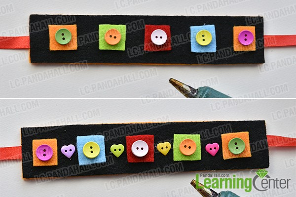 make the second part of the black wide felt and button bracelet for kids