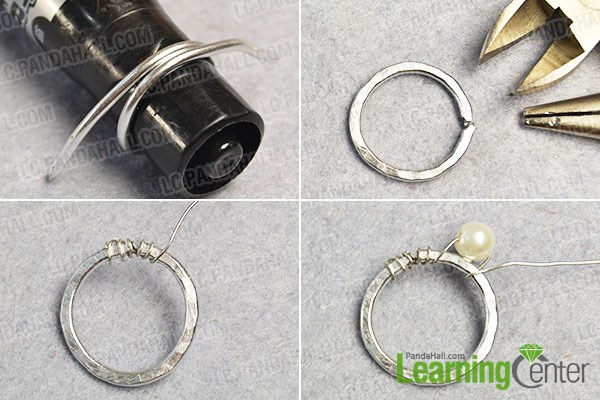 Wrap pearl beads to a wire ring