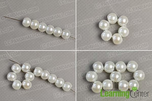 Make 2 pearl beads loops