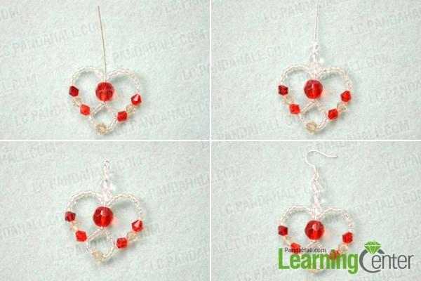 Finish beaded heart earrings pattern