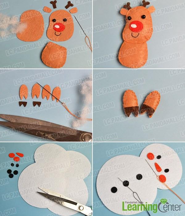 Make a white felt snowman
