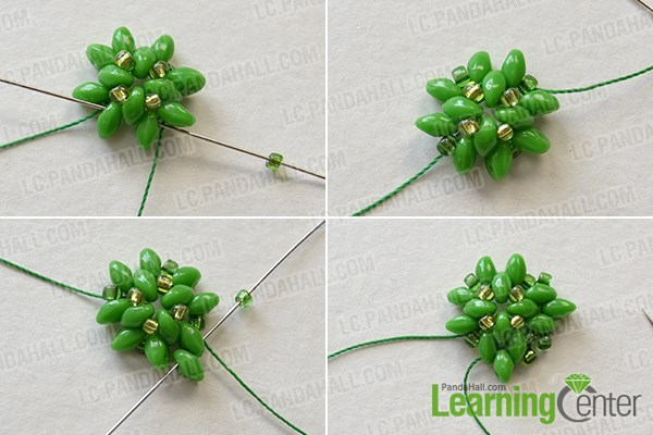 Make the second part of the green seed beads bracelet