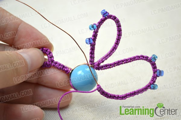 Make the second half wings of butterfly for needle tatting earrings