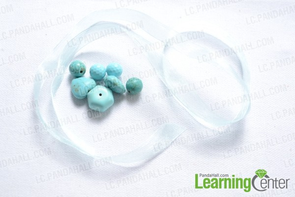 ribbon and turquoise beads you need to make the bracelet