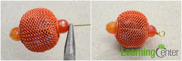 slide another glass bead onto pin