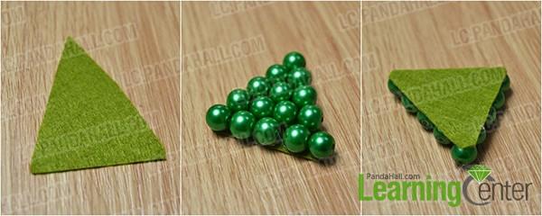 glue beads on felt