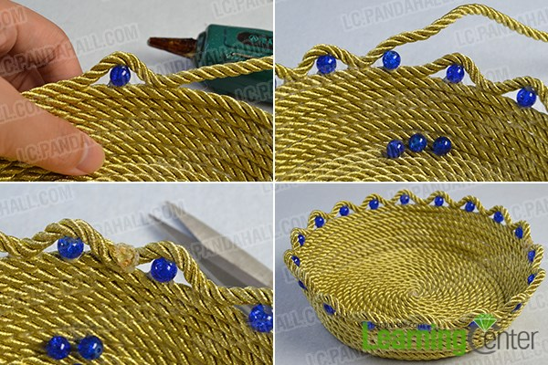 Finish the metallic cord bowl