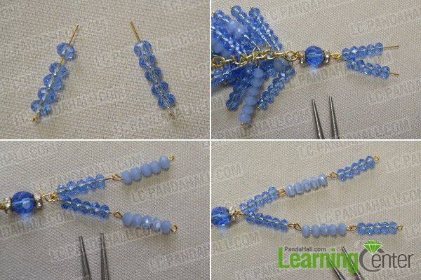 String six blue glass beads to six eyepins separately and link them together as the pictures show.