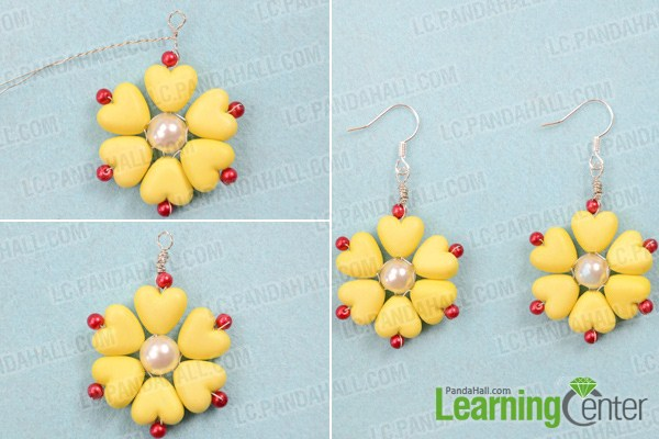 Finish yellow flower earrings