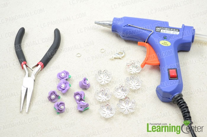 Supplies needed for the floral bracelet