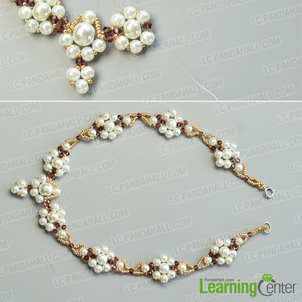 Make the corresponding part of the beaded flower necklace
