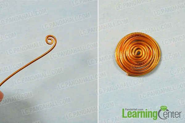 make the first part of the golden wire wrapped bangle bracelet