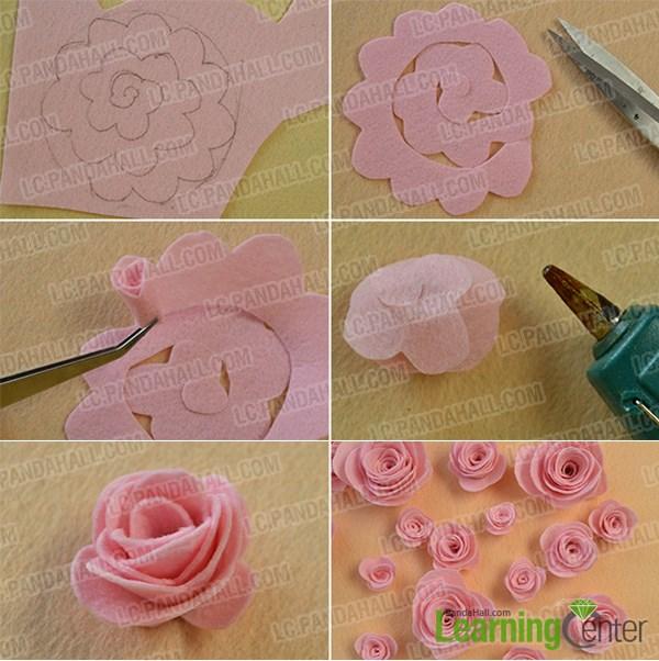 Make the pink felt rose