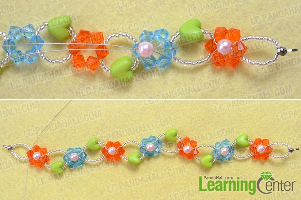Add flower hearts for making glass bead bracelets