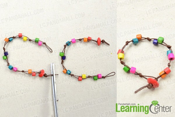 instruction on how to make wood bead bracelet