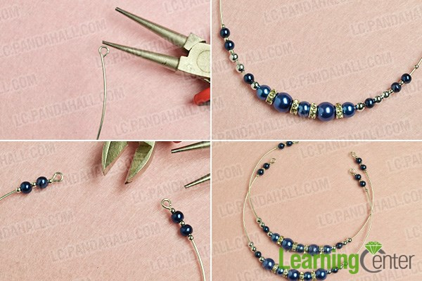 make the basic part of the simple blue pearl bracelet