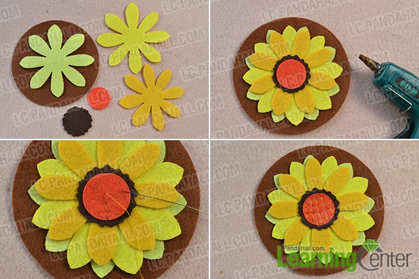 make the first part of the sunflower change felt purse