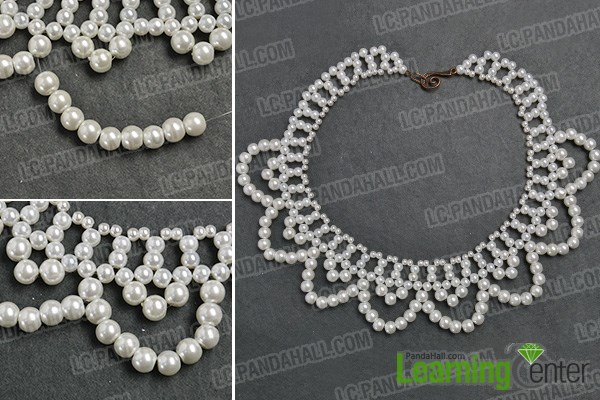 Finish the pearl bead flower choker necklace