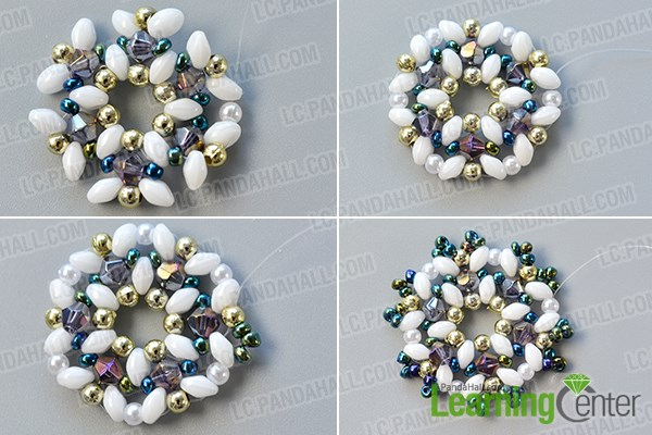 Add more other beads to the flower pattern