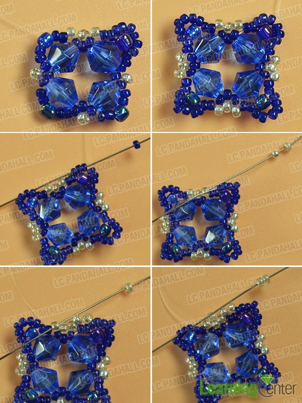 make the fourth part of the blue glass and seed bead bracelet