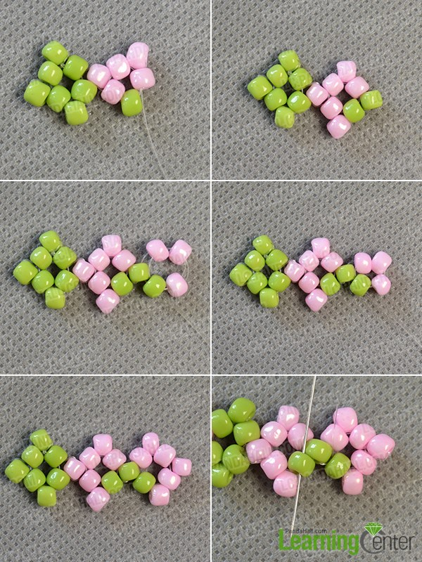 Continue to make the pink seed bead pattern