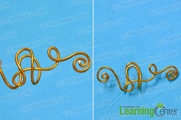 make the first part of the golden wire wrapped and chain earring
