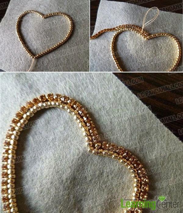 make a heart shape jewelry with beads