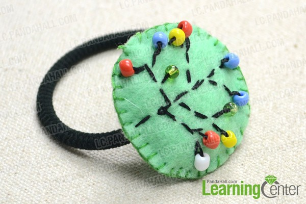 The finished fruit tree embroidery hair tie looks like this: