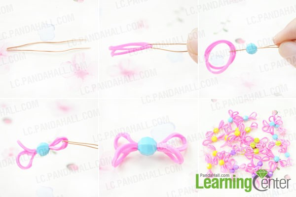 Make the bead links with rubber bands for wide loom bracelet