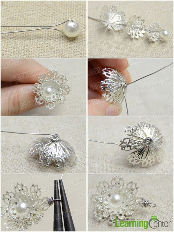 Step 1: Make filigree flower pendant