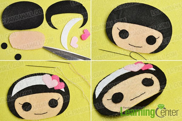 make the first part of the lovely felt couple pendants