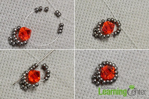 make the first part of the red glass bead bracelet